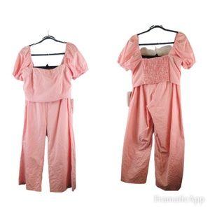 Sweet Rain large paper bag pants crop top pink nwt